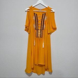 Gibson Latimer yellow knee-length dress